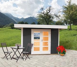 Wolff Finnhaus Gartenhaus Relax B - 28 mm inkl. gratis Fundamentanker/Pads