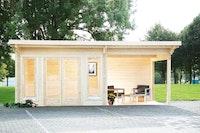 Wolff Finnhaus Gartenhaus Trondheim 70-B isolierverglast XL mit Anbau 200/300/400 cm