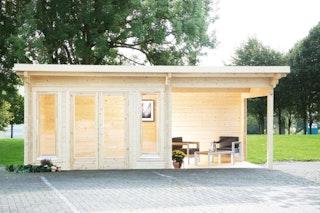 Wolff Finnhaus Gartenhaus Trondheim 70-D isolierverglast XL mit Anbau 200/300/400 cm inkl. gratis Fundamentanker/Pads